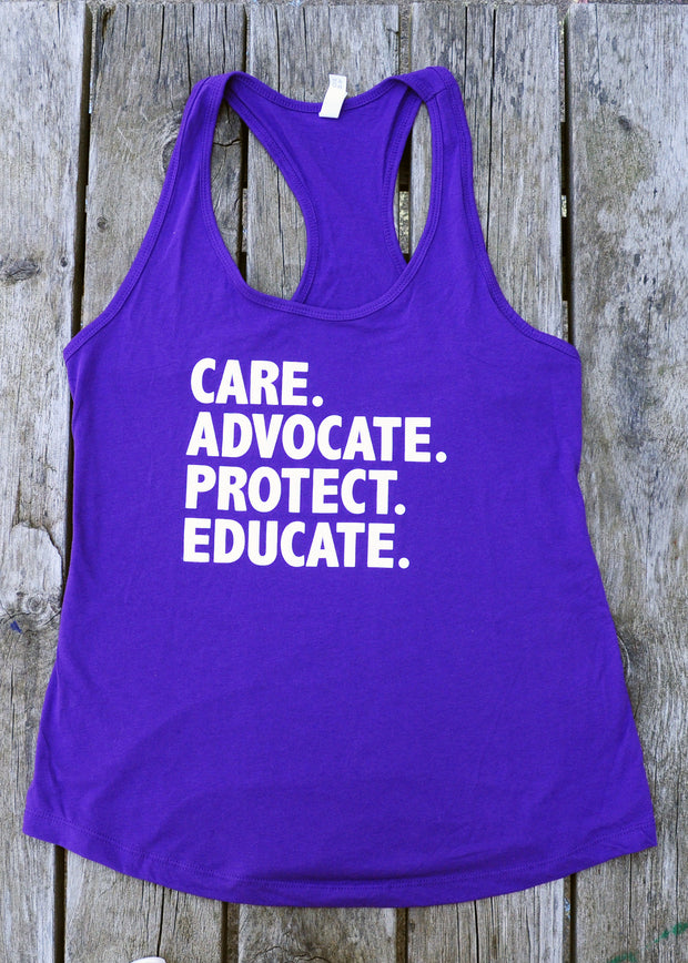 "Ladies ""Care. Advocate. Protect. Educate"" Tank Top"