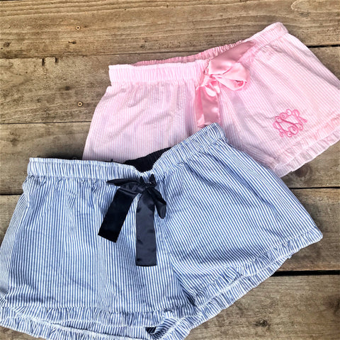 monogram girls Ruffled Edge Lounge Shorts