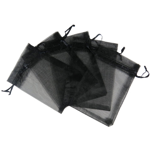 4x6 Black Organza Gift Bags with Drawstring