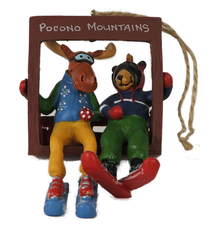 Chairlift Buddies Bear and Moose Ornament