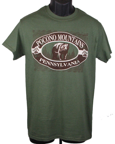 Pocono Mountains Oval Stamp Bear Tee Shirt
