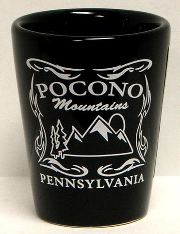 Pocono Mountain Big Label Shot Glass