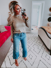 Kelly Puff sleeve knit top- taupe