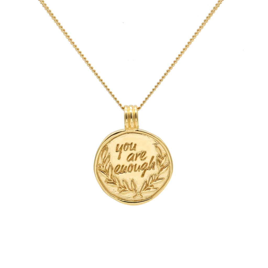 YOU ARE ENOUGH Necklace with Plants Gold