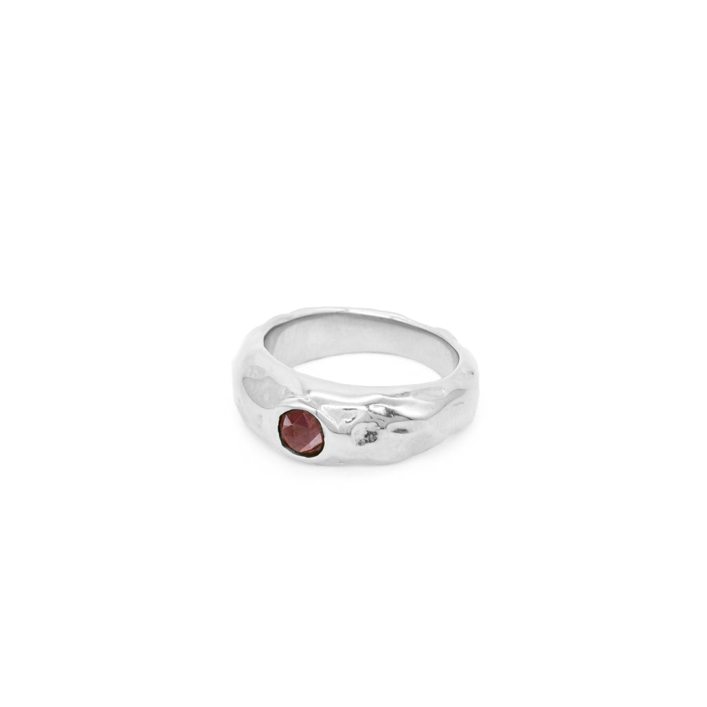 The Melty Ring with Red Garnet Silver