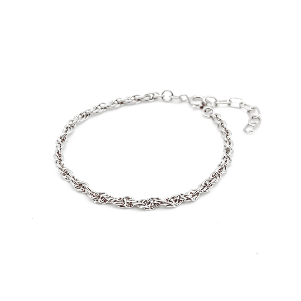 Thick Double Chain Bracelet Silver