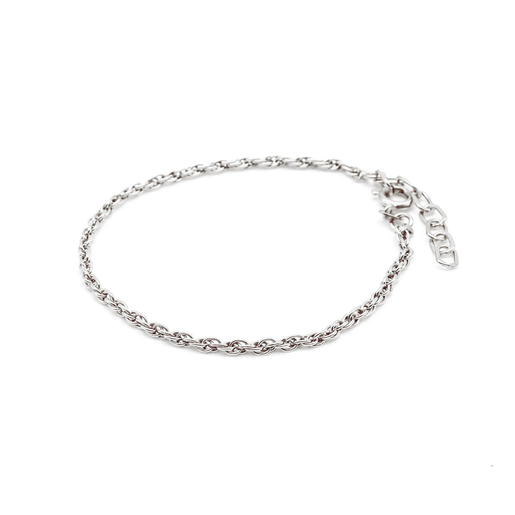 Thin Double Chain Bracelet Silver