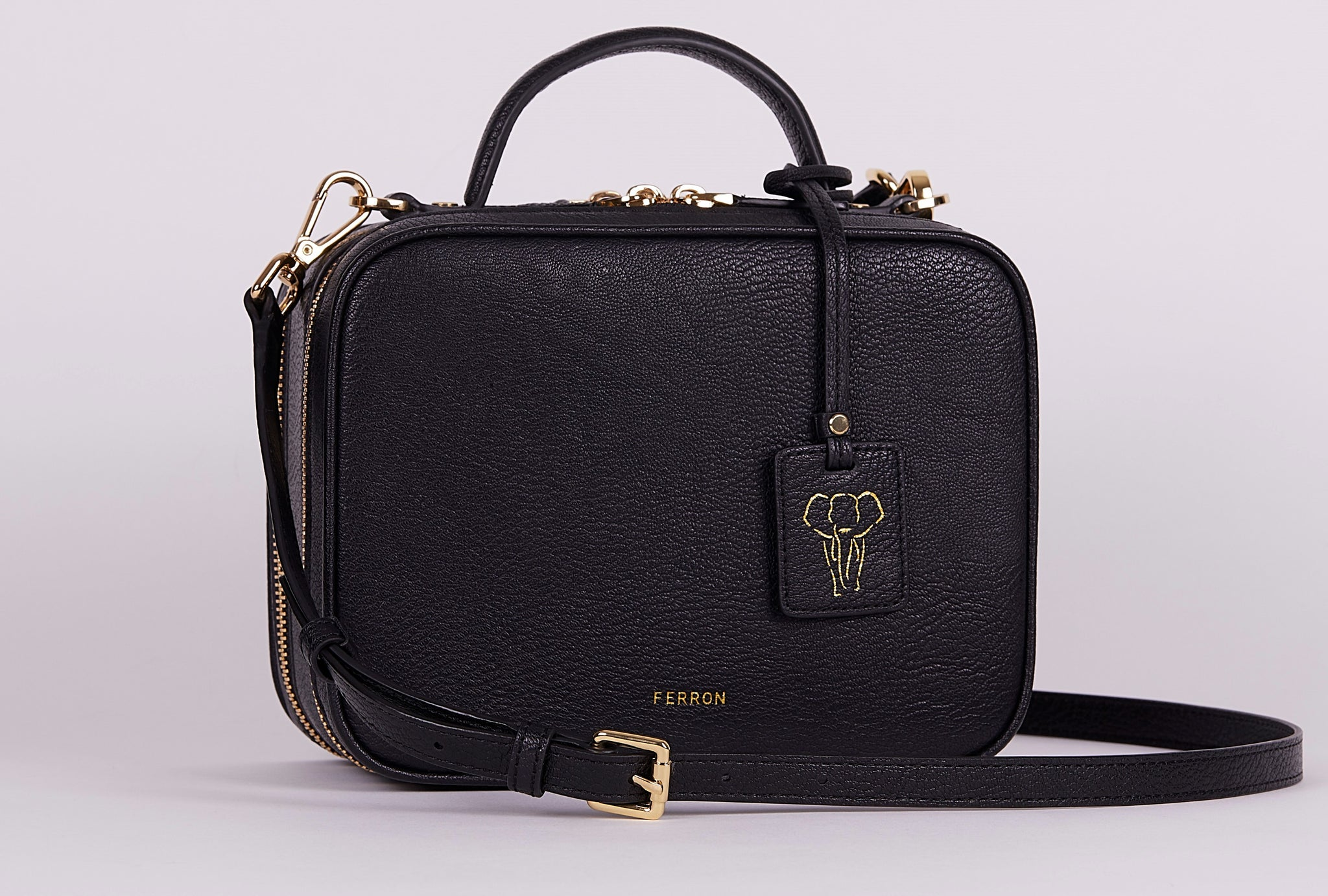 FERRON Vegan Signature Crossbody bag in black with adjustable and detachable straps
