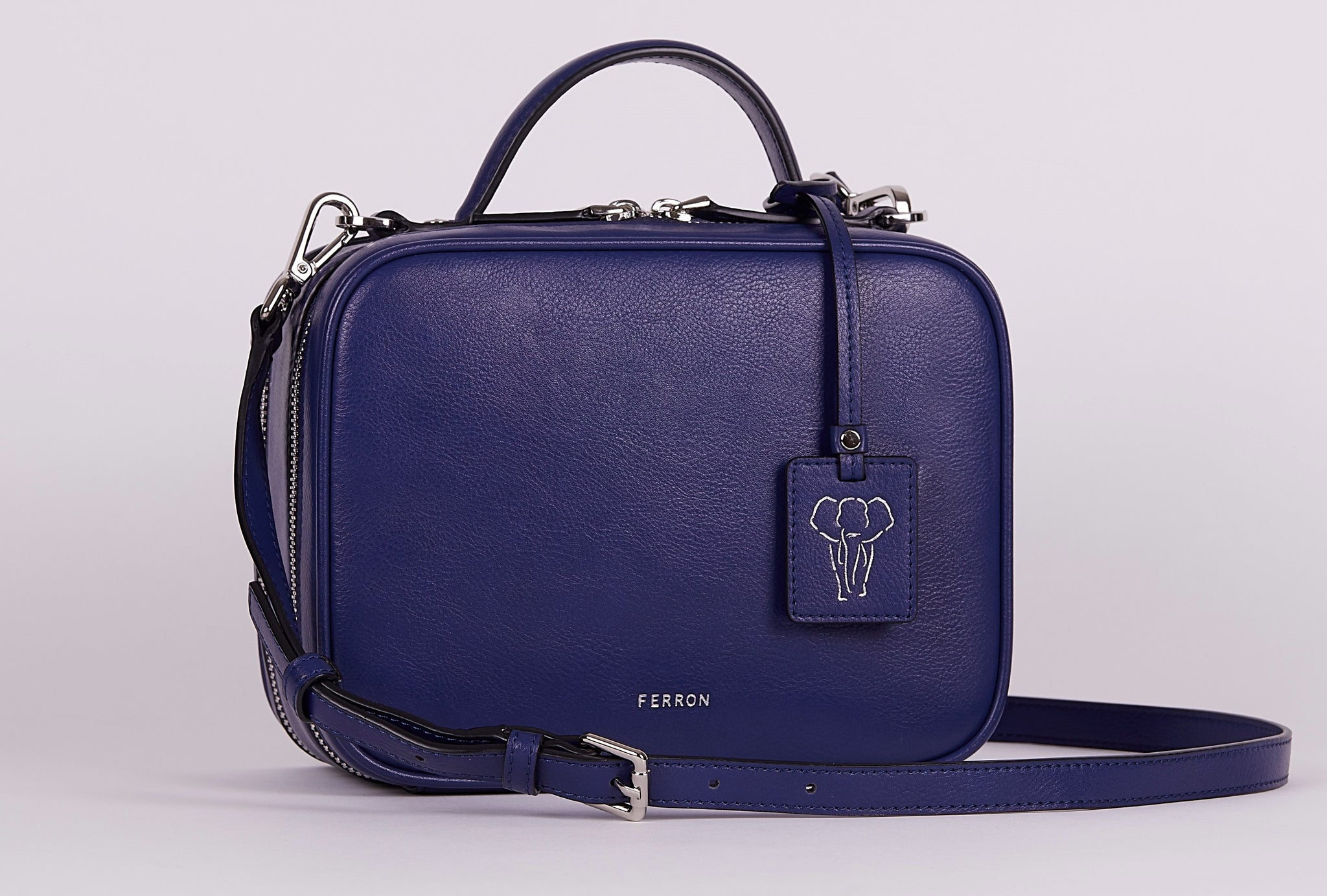 FERRON Vegan Signature Crossbody bag in blue with adjustable and detachable straps