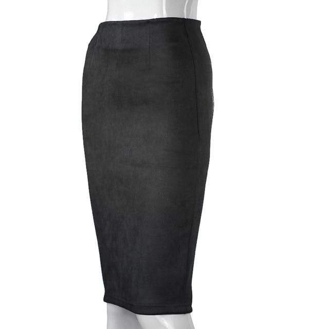 Girly Sales Suede Stretchy Skirt Black / S