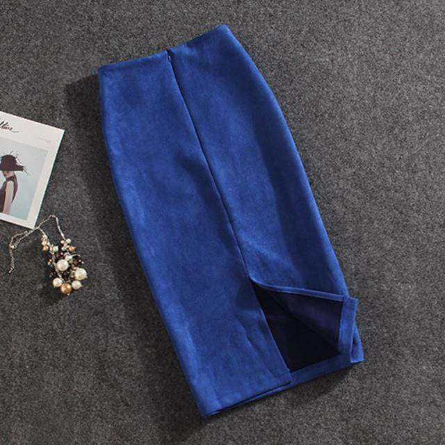 Girly Sales Suede Stretchy Skirt Blue / S