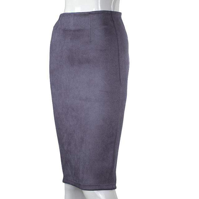 Girly Sales Suede Stretchy Skirt Dark Grey / S
