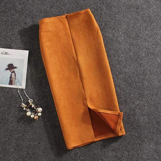 Girly Sales Suede Stretchy Skirt Orange / S