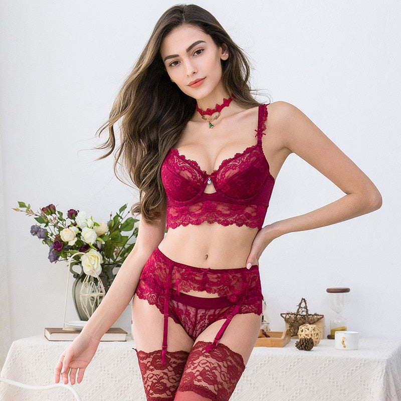 Sexy Lace Push Up Bra Set