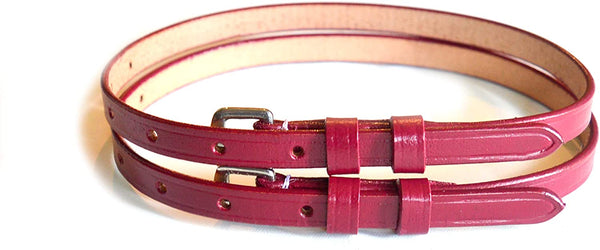 "Premium Red Napa Leather English Spur Straps Adult 18"" Double Keeper"