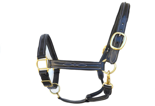 Fancy Stitch Horse Halters, Black Full
