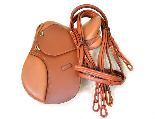 "12"" English Pony Saddle for Kids, Chestnut Leather Saddle w Matching Bridle"