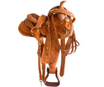 "10"" Natural Leather Floral Carved Pony Saddle For Kids"