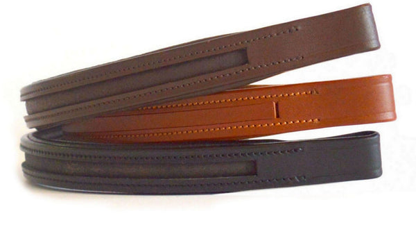 Straight Shape Leather Browbands - Empty Channel