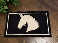 "Horse design cotton blend door mat / rug 30.5"" x 18.5"""