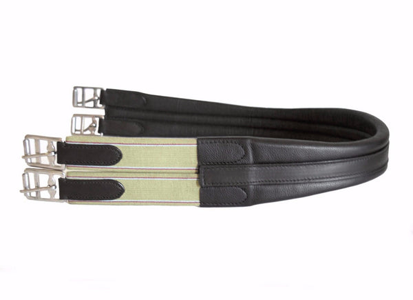 Contoured English Chafeless Leather Girth - Black