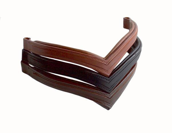V Shape Leather Browbands - Empty Channel
