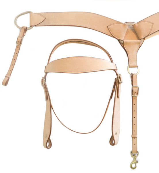 Full Western Headstall Breast Collar Set, Bleached Hide Leather