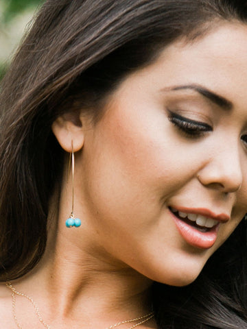 Asian model wearing Angel Gold Turquoise Threader Drop Earrings by Sonia Hou Jewelry