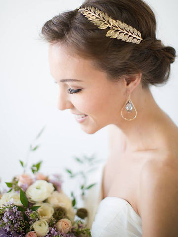 Bride wearing one of the best bridesmaid gifts by SONIA HOU Jewelry - SELFIE 14K Gold Teardrop Swarovski Crystal Earrings