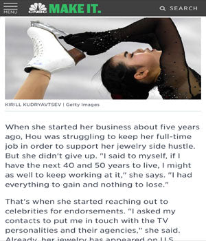 SONIA HOU Jewelry was featured on CNBC Make It for designing the earrings on the U.S. Figure Skaters at the Winter Olympics '18.