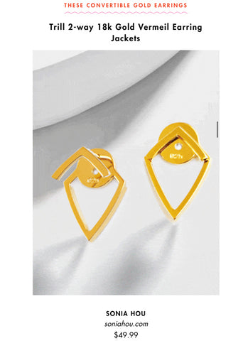 Cosmopolitan featured Sonia Hou Jewelry Trill Earrings as one of the super cute earrings to try for sensitive ears