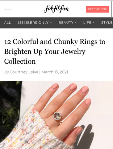 Sonia Hou Jewelry featured on FABFITFUN as one of the 12 Colorful and Chunky Rings to Brighten Up Your Jewelry Collection