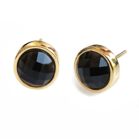 FIRE 24K Gold Stud Black Gemstone Earrings Are One Of The Best Black Friday Jewelry Deals and Sales 2018 By Sonia Hou Jewelry