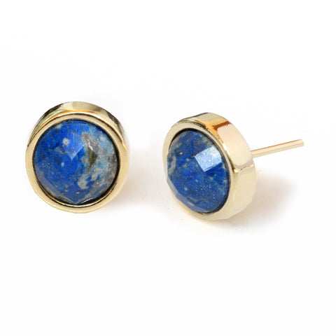 FIRE 24K Gold Stud Blue Gemstone Earrings Are One Of The Best Black Friday Jewelry Deals and Sales 2018 By Sonia Hou Jewelry