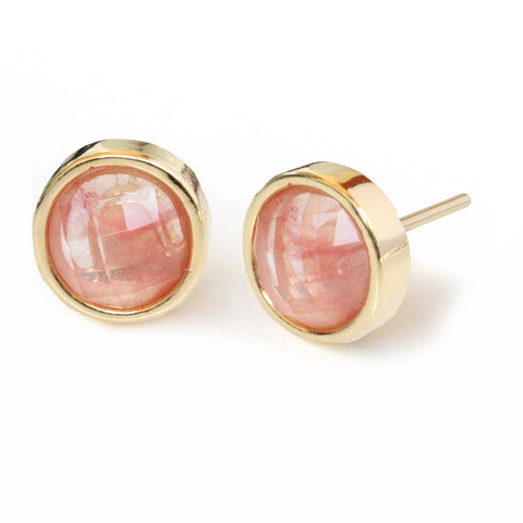 FIRE 24K Gold Stud Pink Gemstone Earrings Are One Of The Best Black Friday Jewelry Deals and Sales 2018 By Sonia Hou Jewelry