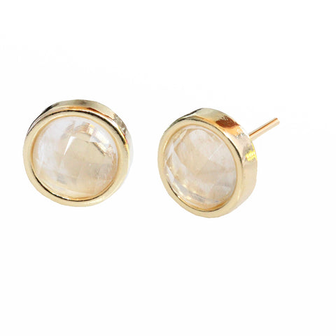 Fire 24K Gold Stud White Quartz Gemstone Earrings Are The Best Christmas Gifts For Moms 2018 By Sonia Hou Jewelry
