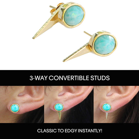 3-Way Convertible FIRE 24K Gold Stud Ear Jacket Earrings In Blue Gemstone by SONIA HOU Jewelry Can Change Your Life Forever