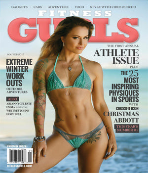 Athlete Christmas Abbott wearing SONIA HOU Jewelry on the front cover of FITNESS GURLS Magazine