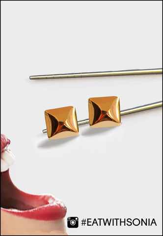 Rose gold square earrings presented as Jewelry Food art by Sonia Hou Jewelry