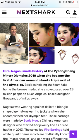 NEXTSHARK featured Chinese American SONIA HOU Jewelry designer for designing earrings that the Olympians wore