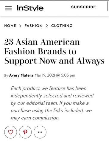 Sonia Hou Jewelry featured in INSTYLE magazine as one of the 23 Asian American Fashion Brands to Support