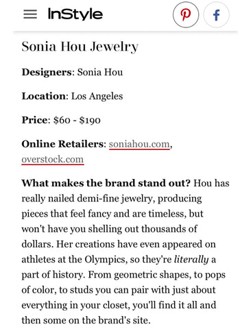 Sonia Hou Jewelry featured on INSTYLE magazine as one of the 23 Asian American Fashion Brands to Support Now and Always