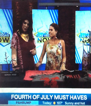 CBS' 8 NEWS NOW featured ANGEL earrings by SONIA HOU Jewelry In Las Vegas as one of July 4 must-haves - hosted by celebrity stylist Ali Levine