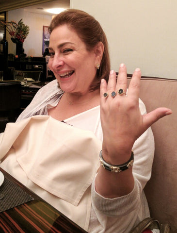 Celebrity QVC Makeup Guru / Mogul Laura Geller Wearing Triple Ring By SONIA HOU Jewelry
