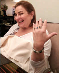 SONIA HOU Jewelry's celebrities / press exposure includes celebrity QVC Makeup Guru / Mogul Laura Geller wearing our Triple Ring (limited edition)