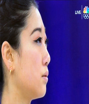 U.S. Figure Skater Mirai Nagasu Wearing FIRE Earrings by SONIA HOU Jewelry at Winter Olympics 2018