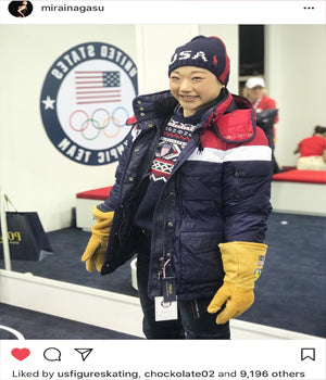 U.S. Figure Skater Mirai Nagasu Wearing FIRE Earrings by SONIA HOU Jewelry at Winter Olympics 2018 on Instagram