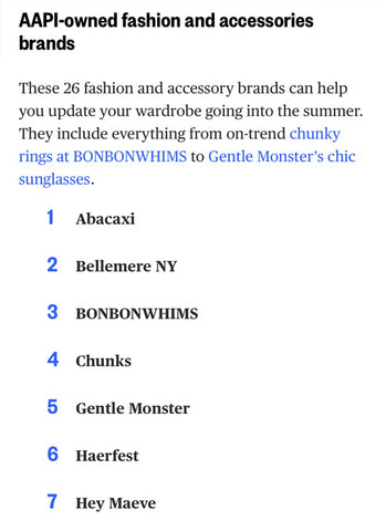 SONIA HOU Jewelry was featured on NBC NEWS' 100+ AAPI Fashion Brands To Support