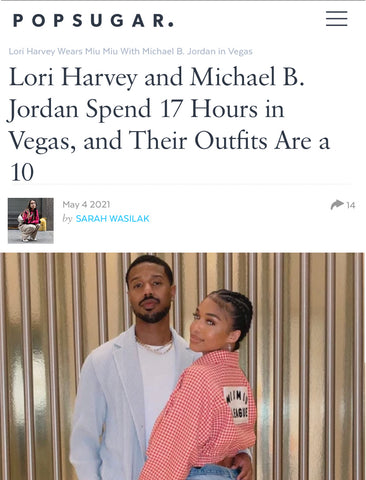 SONIA HOU Jewelry was featured on POPSUGAR's Lori Harvey and Michael B. Jordan Vegas Outfit article