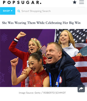 SONIA HOU Jewelry featured in POPSUGAR for designing the good luck FIRE earrings that U.S. Figure Skater Mirai Nagasu wore at the Winter Olympics 2018